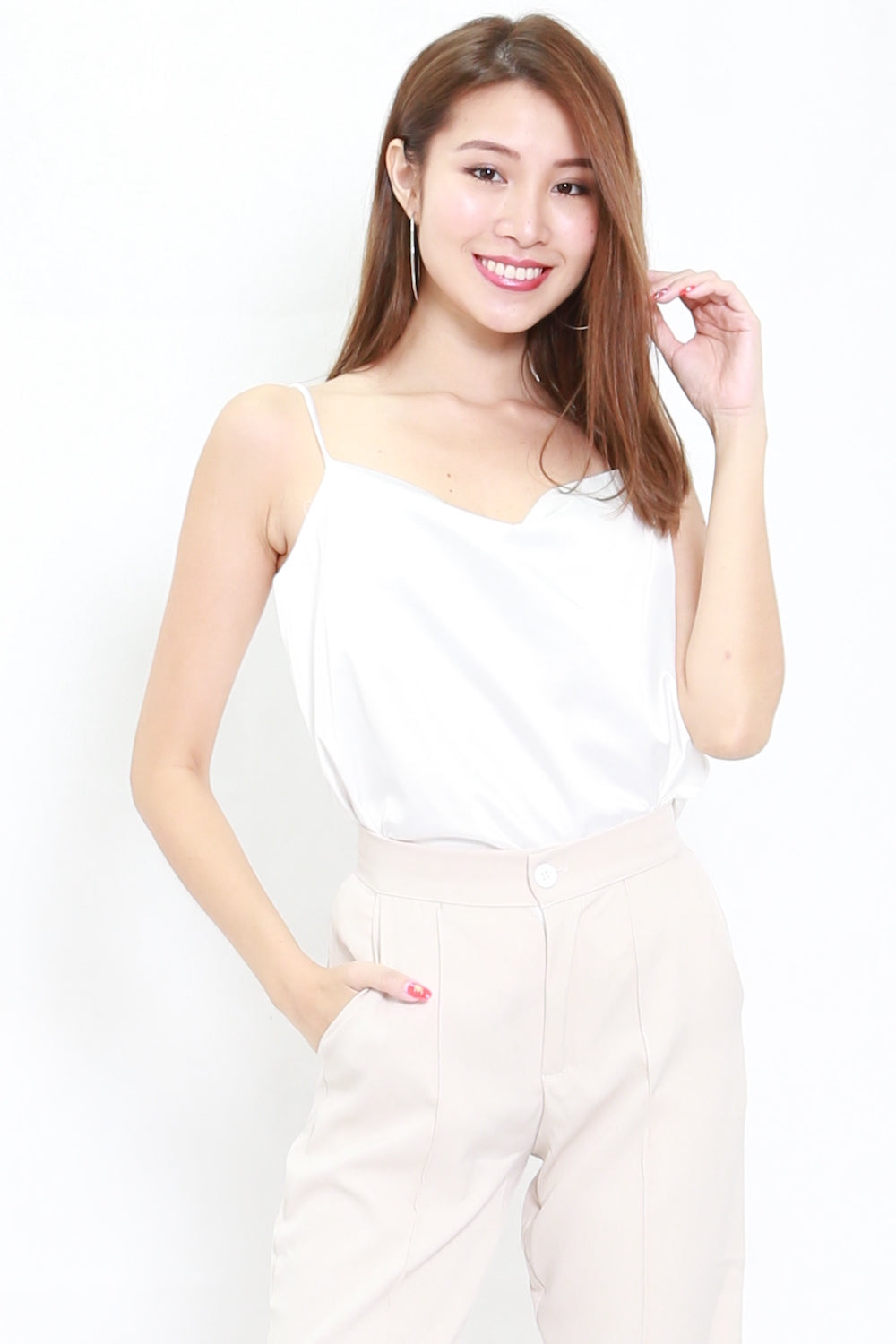 Satin Cowl Neck Top (White)