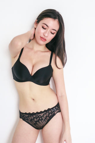 Satin Push Up Bra (Black)
