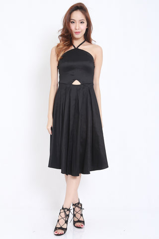 Satin Tie Back Midi Dress (Black) -  - 1