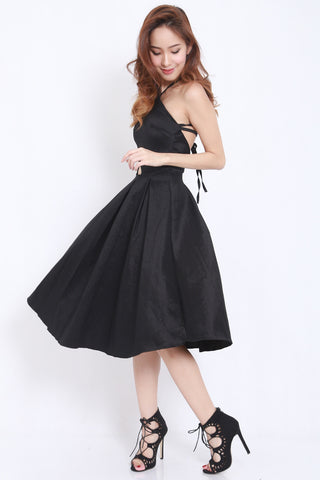 Satin Tie Back Midi Dress (Black) -  - 2