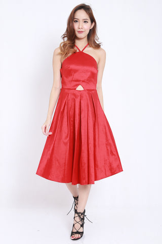Satin Tie Back Midi Dress (Red) -  - 4