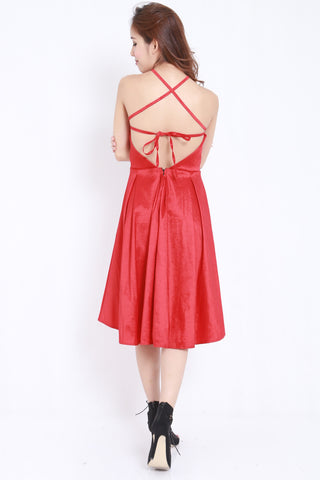 Satin Tie Back Midi Dress (Red) -  - 2