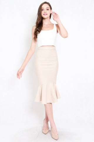 *Premium* Mermaid Midi Skirt (Ivory)