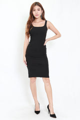 Scoop Neck Midi Dress (Black)