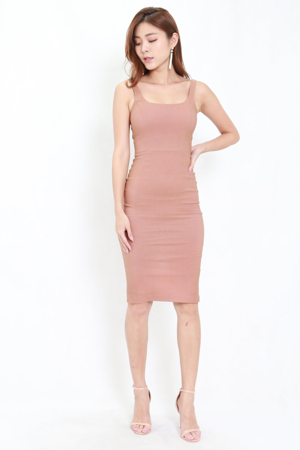 Scoop Neck Midi Dress (Tan-Nude)