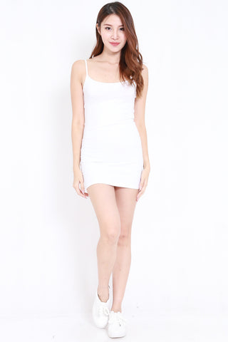 Scoop Neck Spag Dress (White)