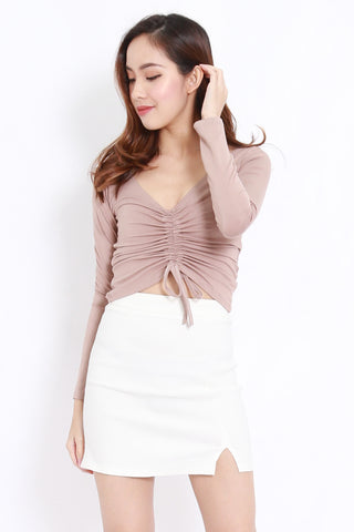 Scrunch Front Top (Taupe)
