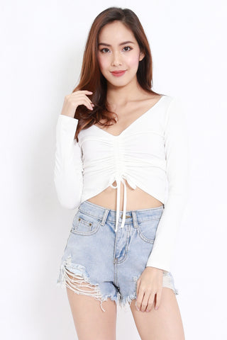 Scrunch Front Top (White)