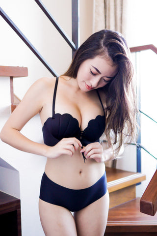 Seashell Lace Bra (Black)