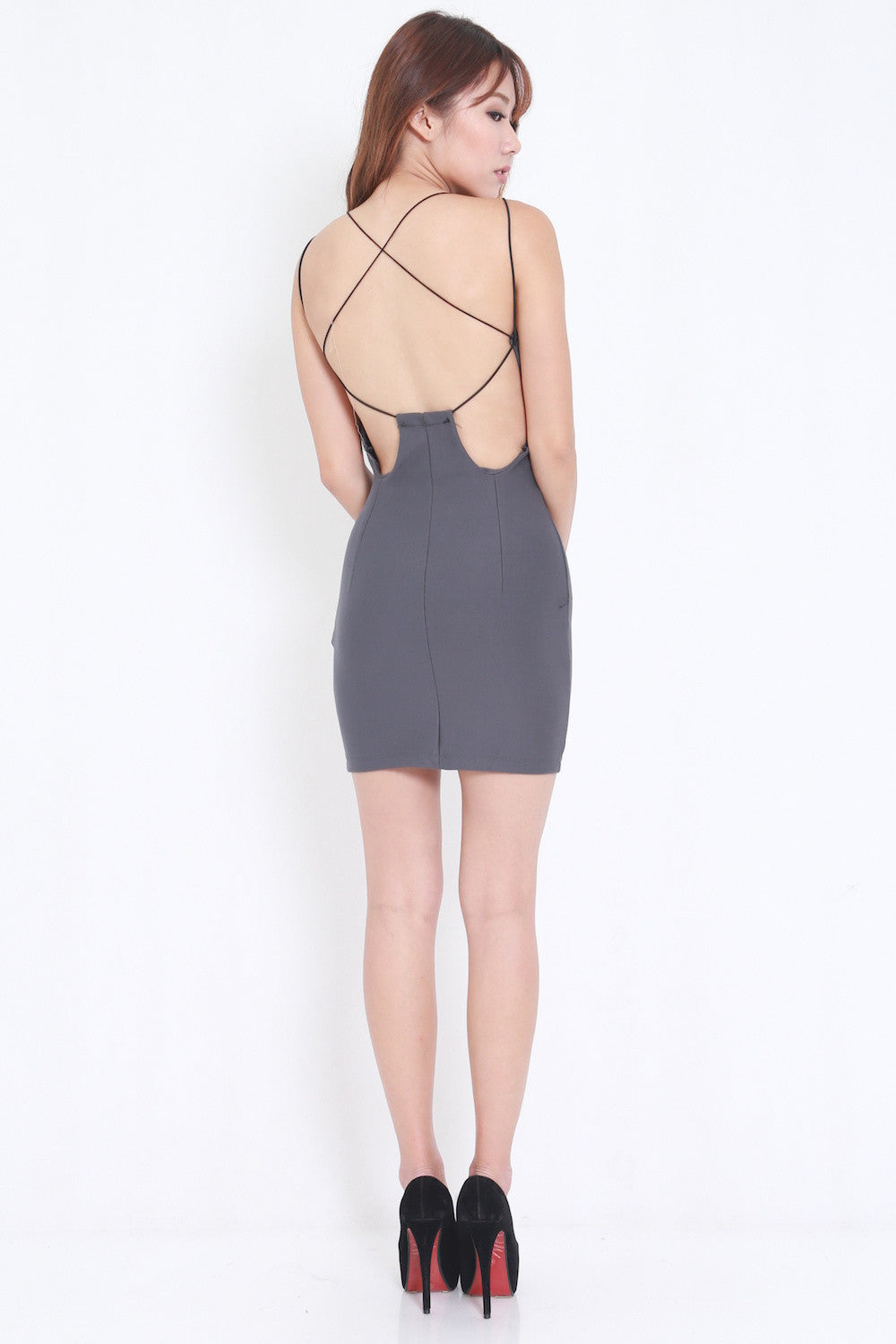 Sexy Back Dress (Grey)