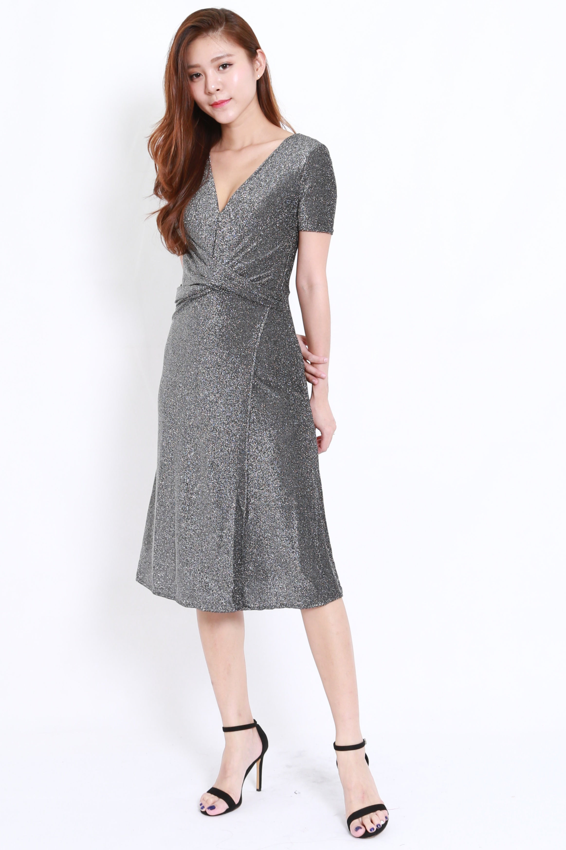Shimmery Midi Dress (Grey)