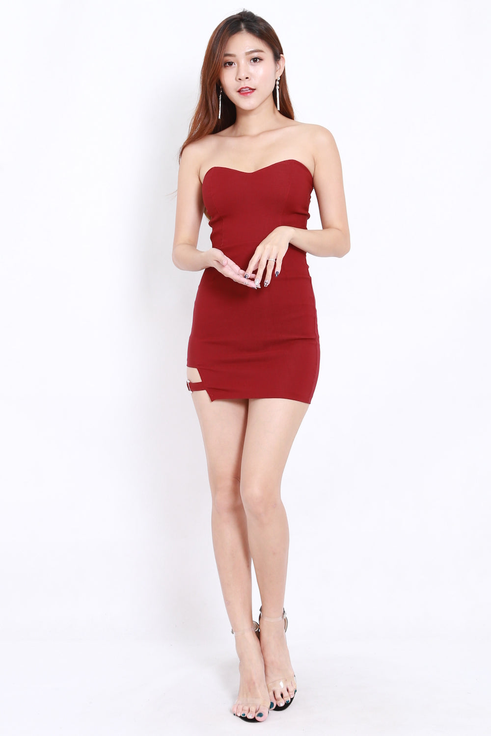 Side Buckle Tube Dress (Maroon)