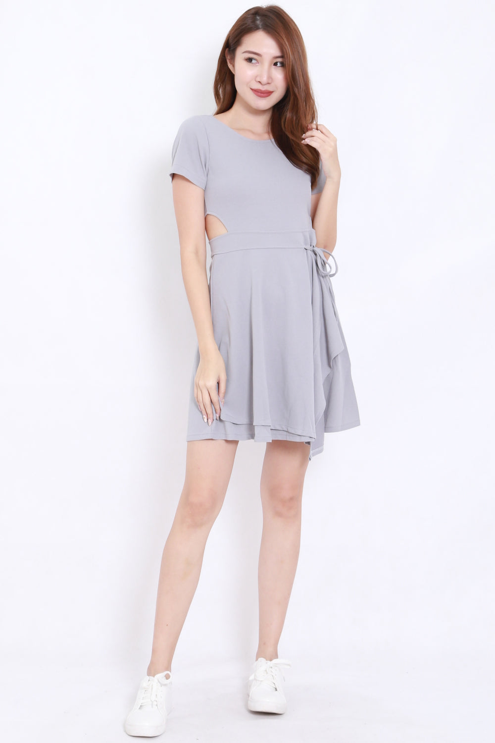 Side Cutout Overlap Skater Dress (Grey)