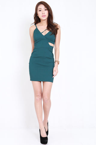 Side Cutout Spag Dress (Forest)