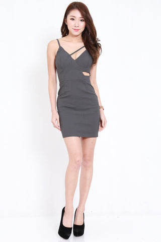 Side Cutout Spag Dress (Dark Grey)