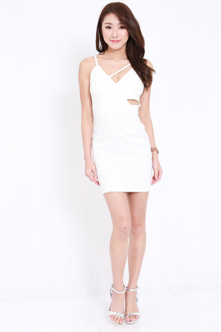 Side Cutout Spag Dress (White)