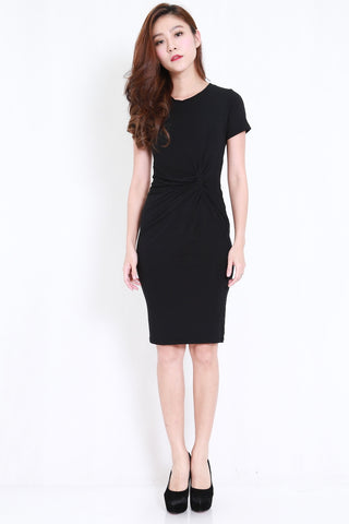 Side Knot Midi Dress (Black)