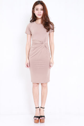 Side Knot Midi Dress (Taupe)