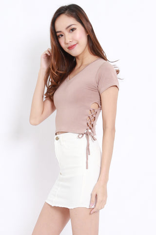 Side Lace Crop Tee (Taupe)