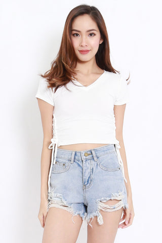Side Lace Crop Tee (White)