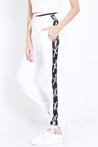 Side Lace Joggers (White)