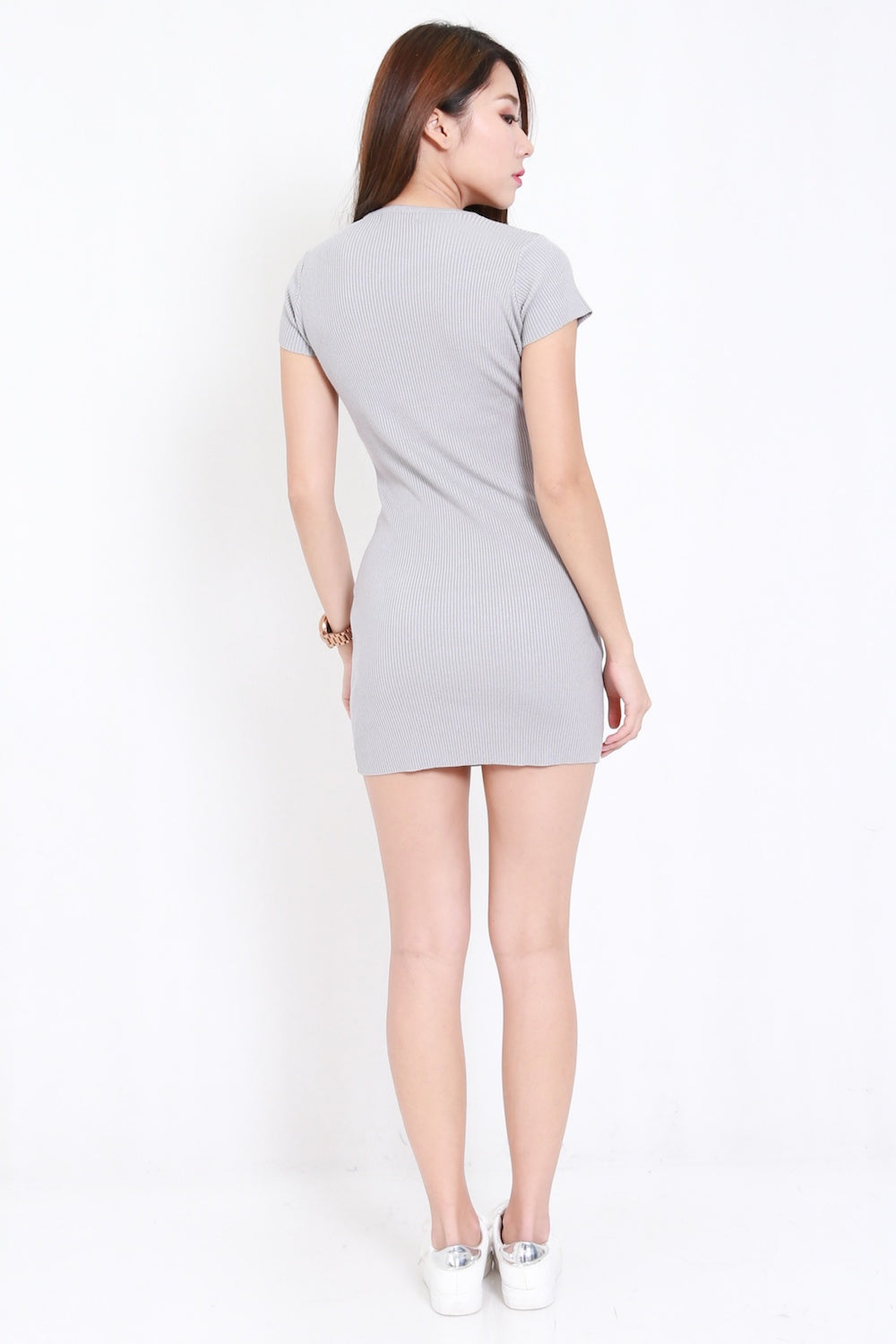 Side Lace Knit Tee Dress (Grey)