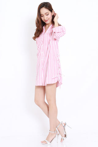 Side Lace Stripes Shirt Dress (Red)