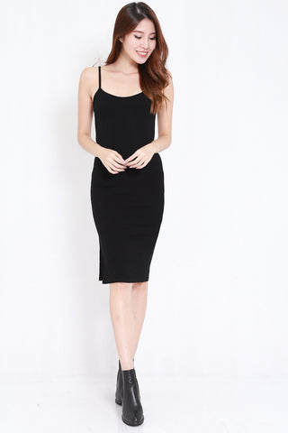 Side Slit Midi Spag Dress (Black)