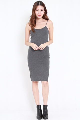 Side Slit Midi Spag Dress (Dark Grey)