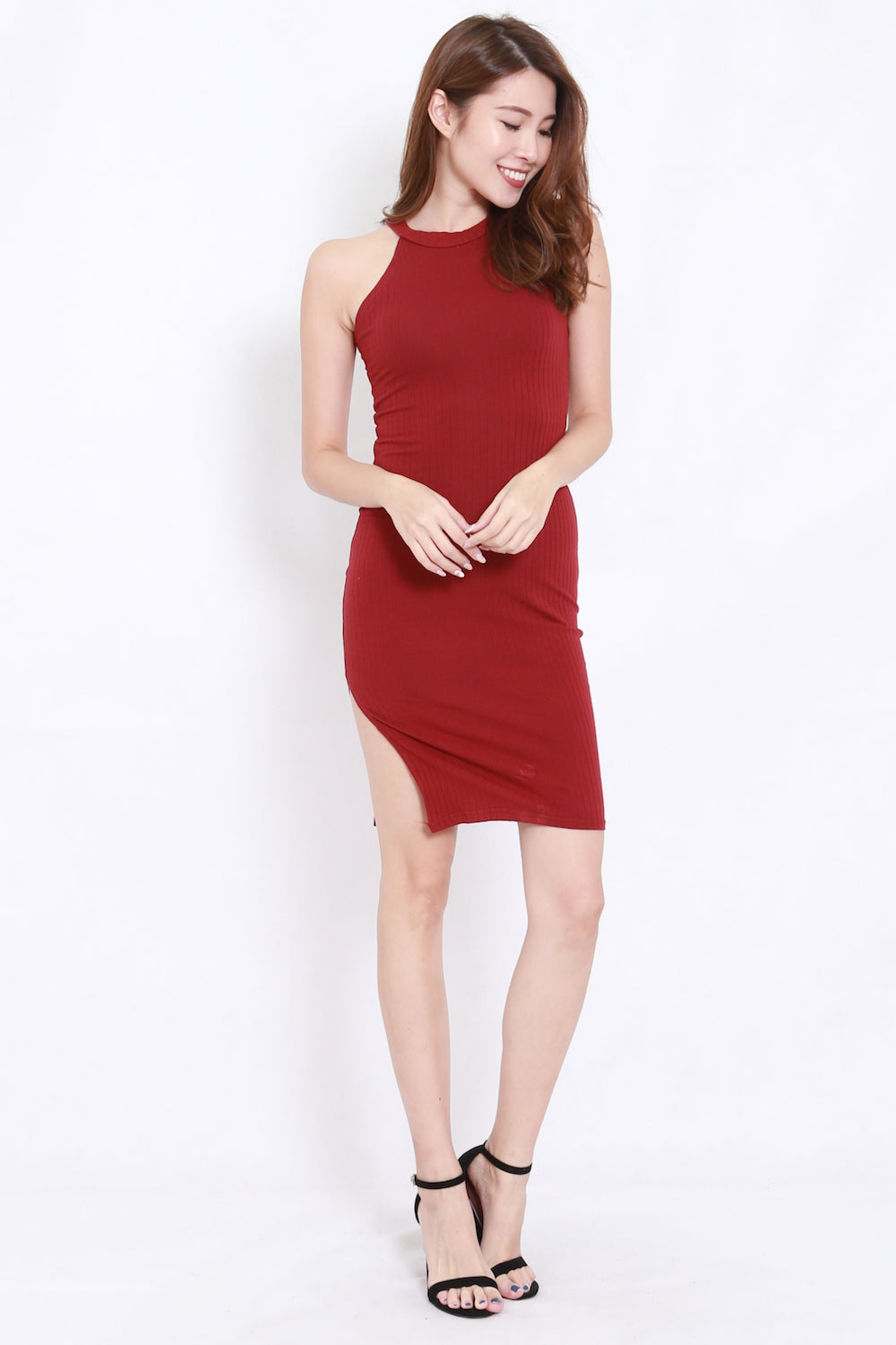 Side Slit Ribbed Midi Dress (Maroon)