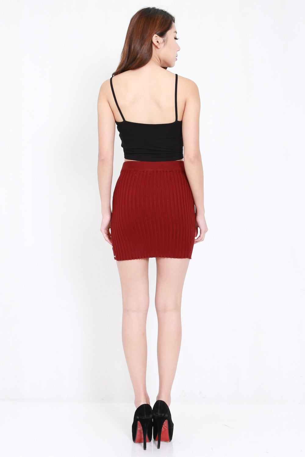 Slit Buttons Knit Skirt (Maroon)