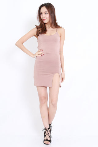 Slit Spag Dress (Taupe)