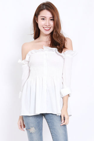 Smocked Babydoll Offsie Tunic (White)