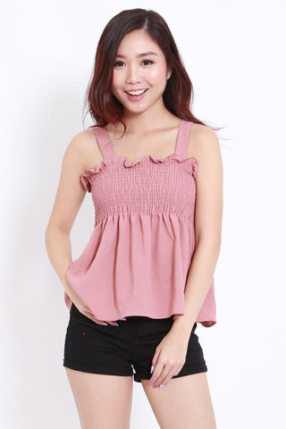 Smocked Babydoll Top (Pink)