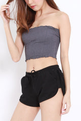 Smocked Crop Tube (Dark Grey)