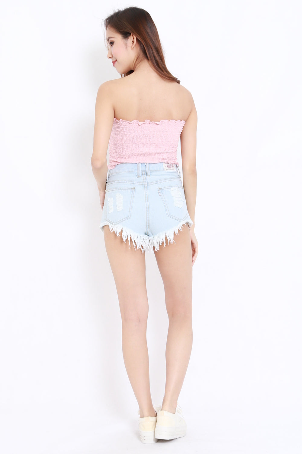 Smocked Crop Tube (Baby Pink)