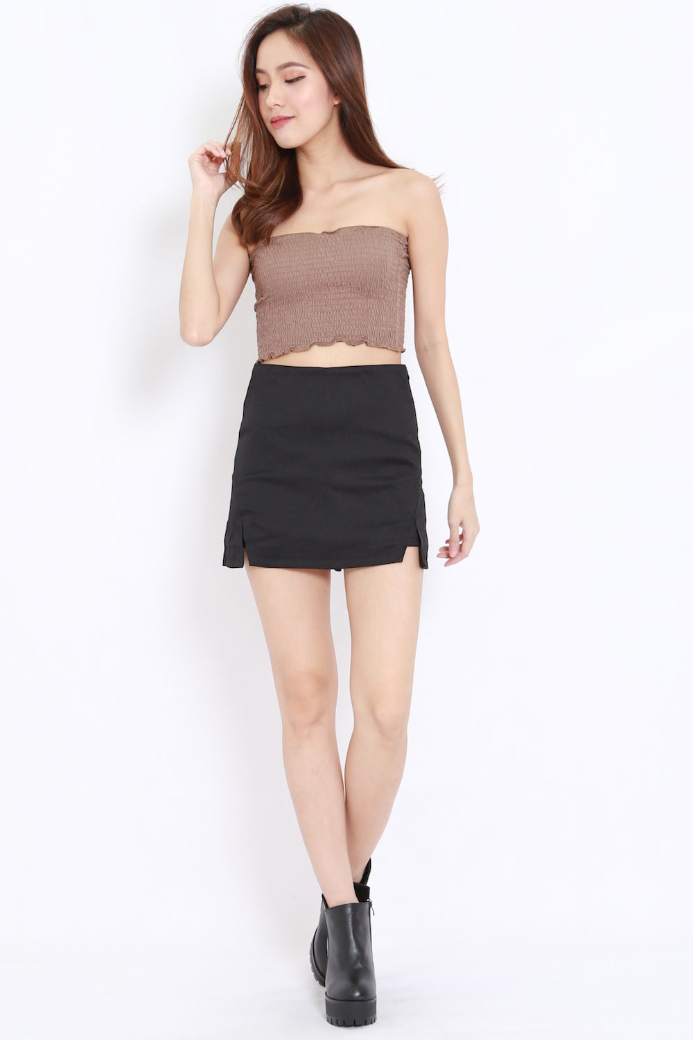 Smocked Crop Tube (Taupe)