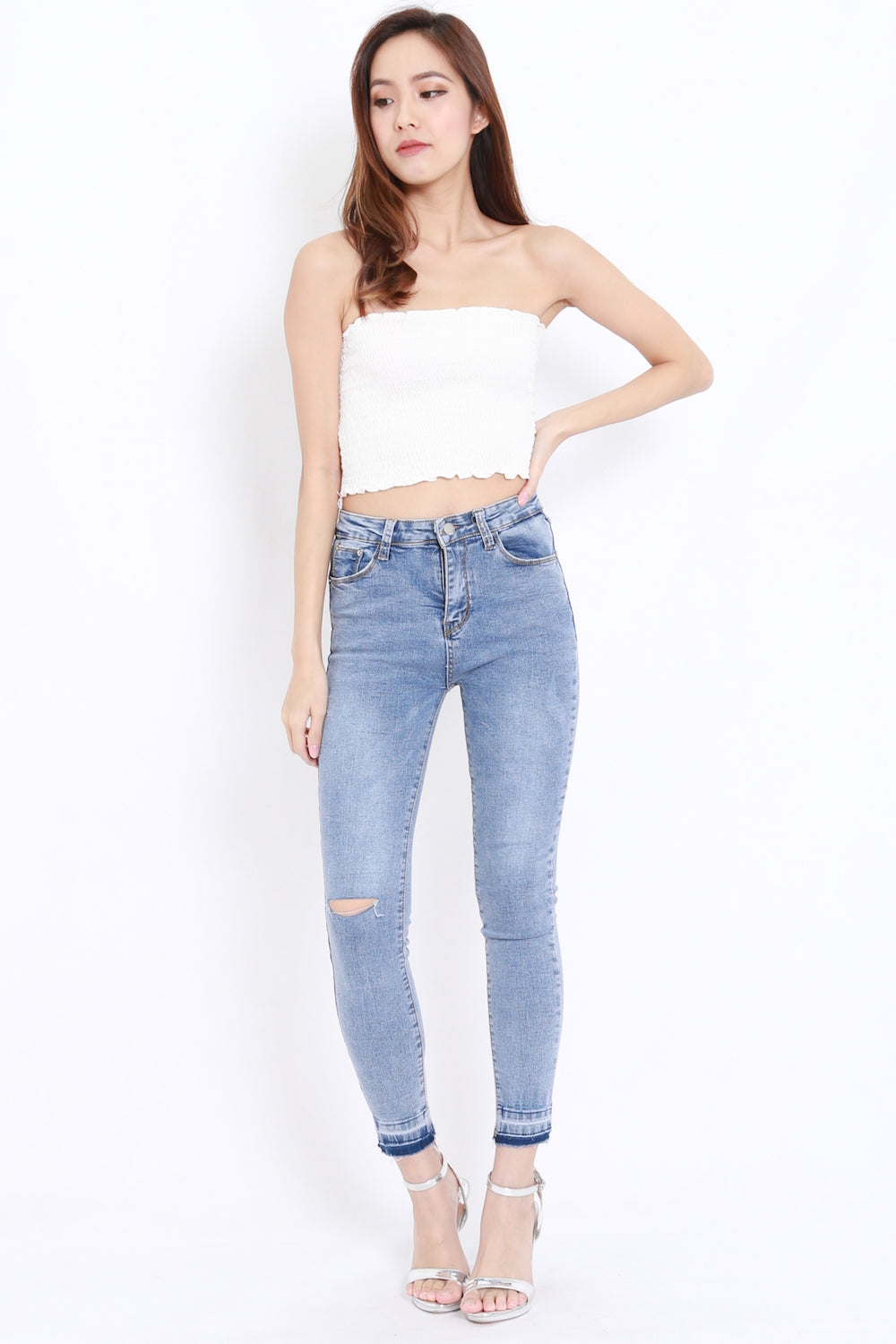 Smocked Crop Tube (White)
