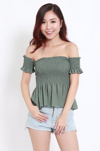 Smocked Peplum Offsie (Green)