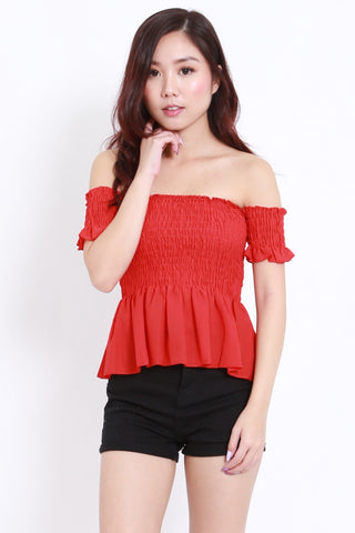 Smocked Peplum Offsie (Red)