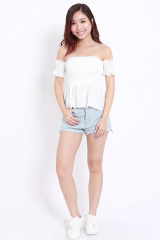 Smocked Peplum Offsie (White)