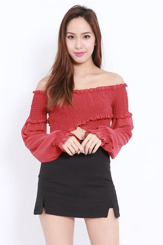 Smoked Crossover Chiffon Top (Maroon)