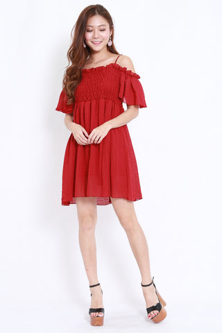 Smoked Offsie Babydoll Dress (Red)
