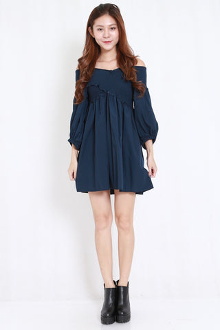 01dc3c2e9 Smoked Puffy Babydoll Dress (Navy)