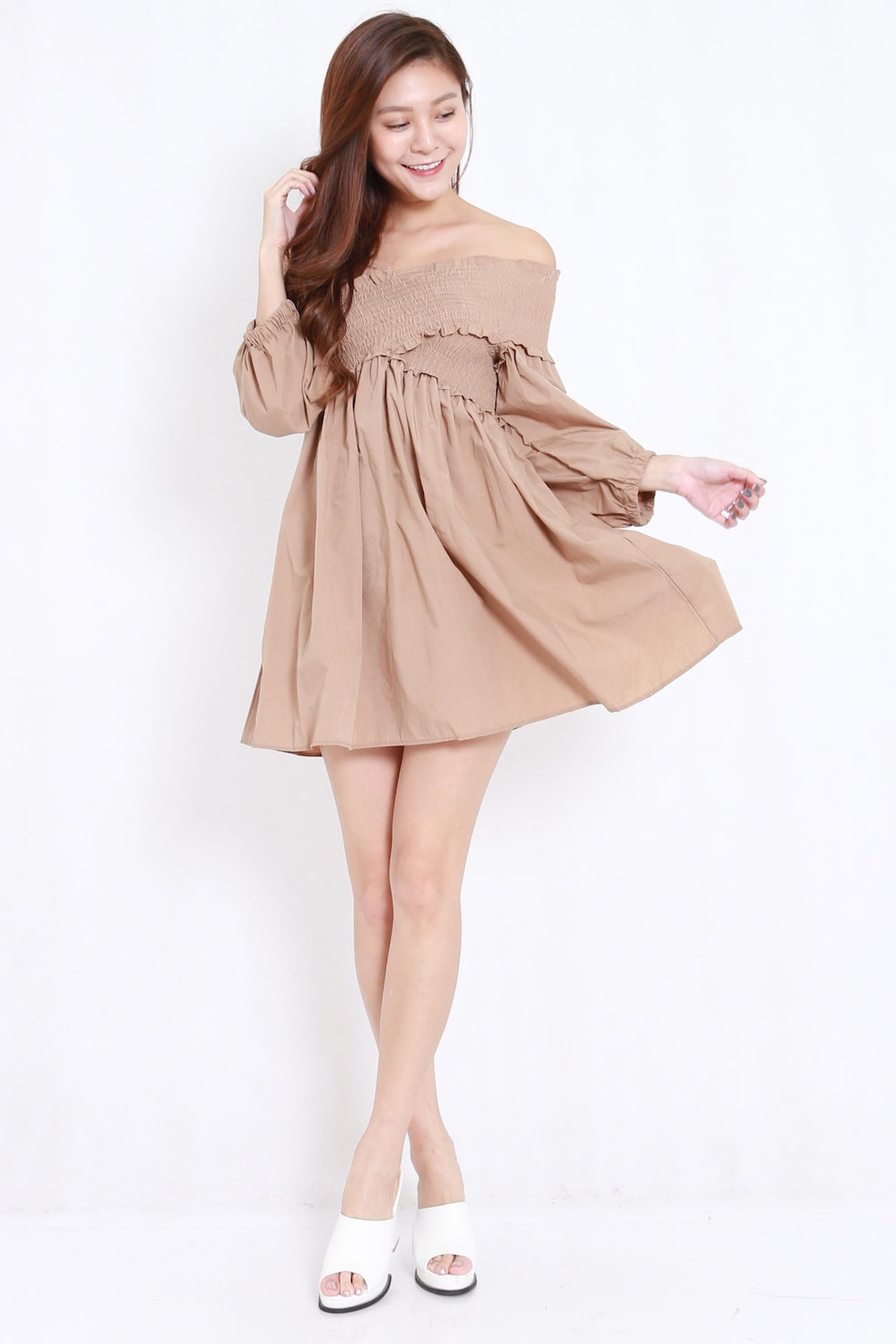 Smoked Puffy Babydoll Dress (Taupe) – Carrislabelle 9d4e49aee
