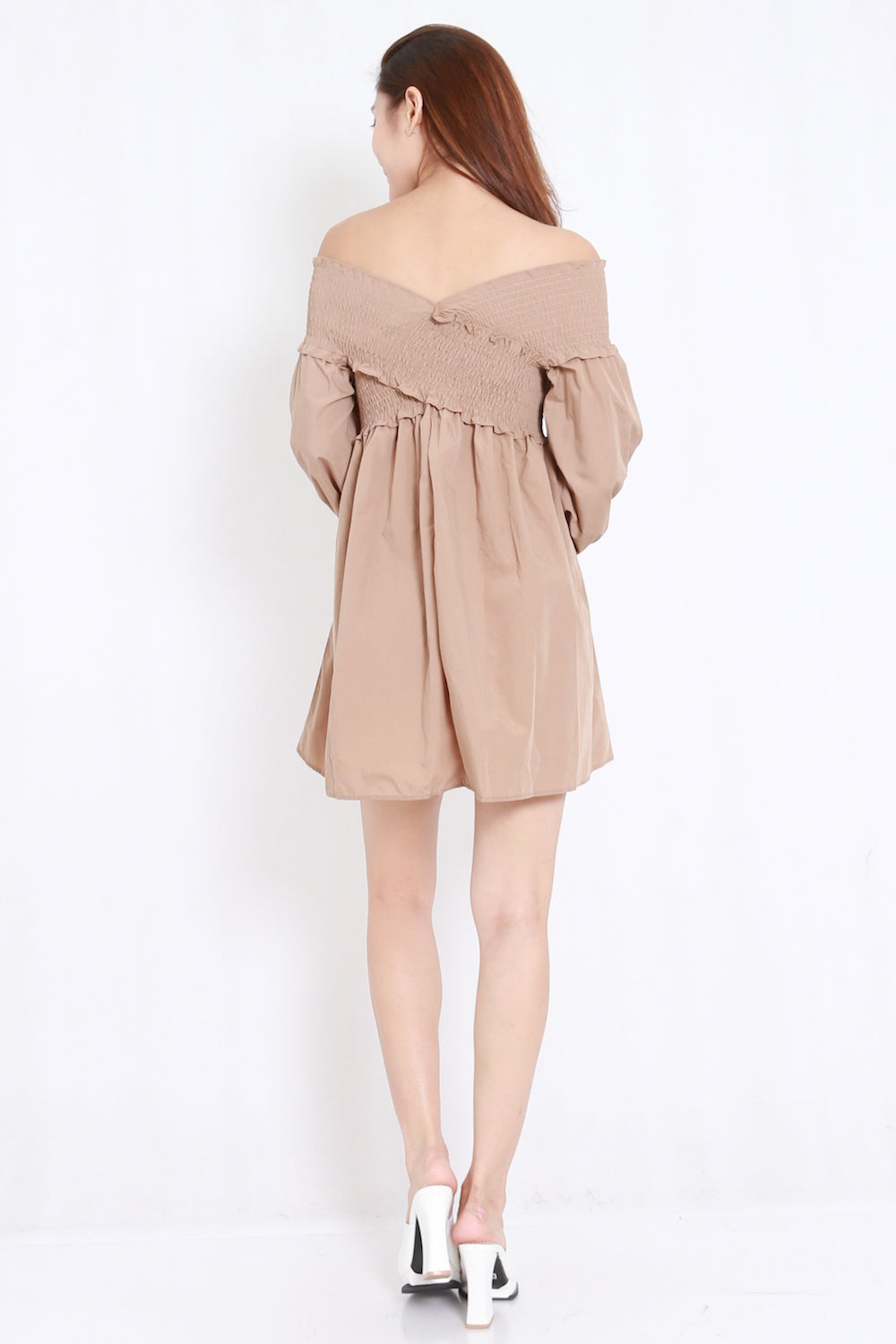 fa37406b2 Smoked Puffy Babydoll Dress (Taupe) – Carrislabelle