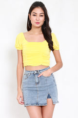 Square Neck Ruch Top (Daffodil)