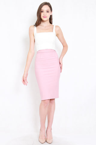 *Premium* Pencil Midi Skirt (Light Pink)