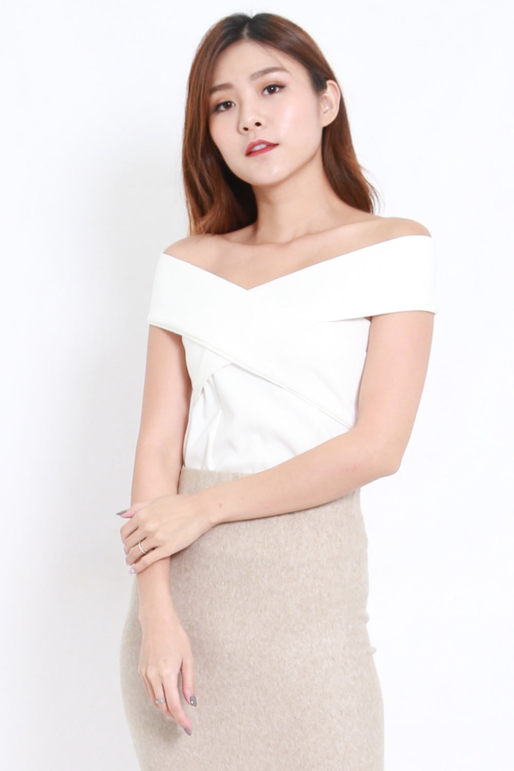Stacia Off Shoulder Top (White)