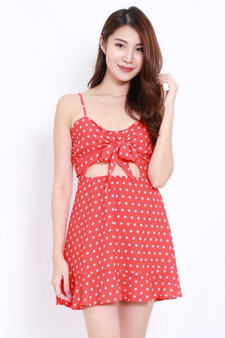 Starry Bow Front Dress (Red)